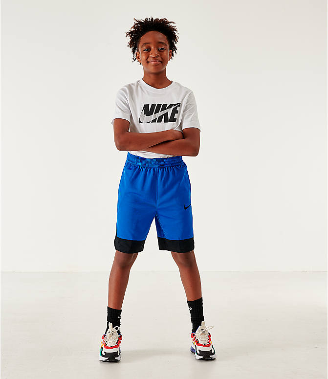 Front Three Quarter view of Boys' Nike Icon Basketball Shorts in Game Royal/Black