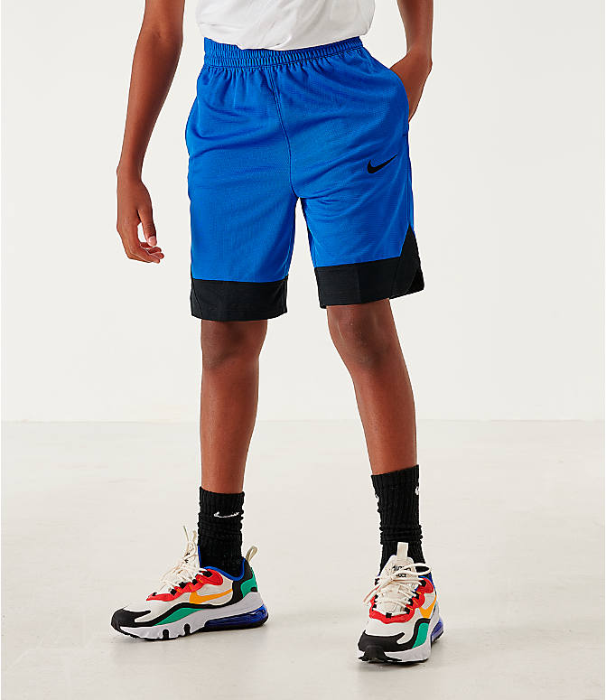 Back Left view of Boys' Nike Icon Basketball Shorts in Game Royal/Black