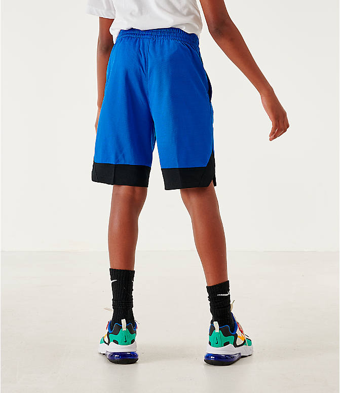 Back Right view of Boys' Nike Icon Basketball Shorts in Game Royal/Black