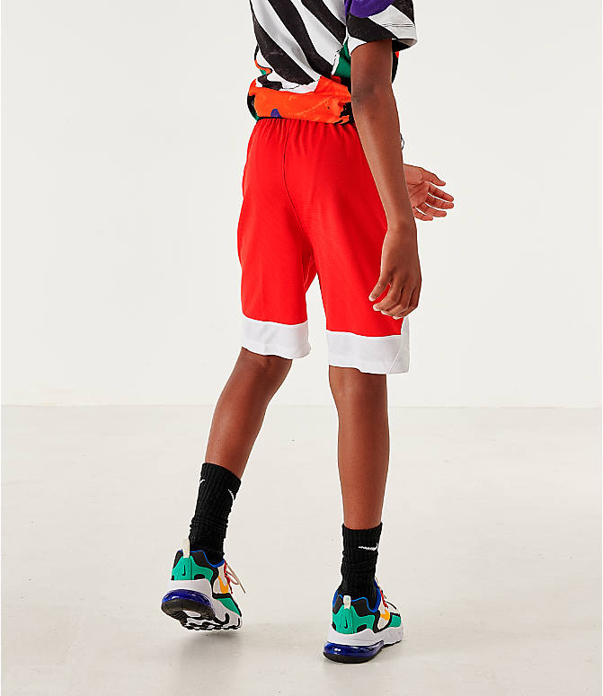 Back Right view of Boys' Nike Icon Basketball Shorts in University Red/Black/White