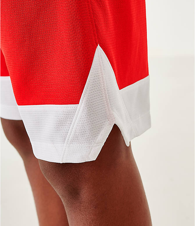 On Model 5 view of Boys' Nike Icon Basketball Shorts in University Red/Black/White