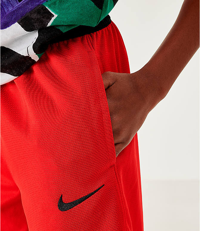 On Model 6 view of Boys' Nike Icon Basketball Shorts in University Red/Black/White