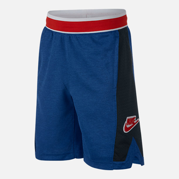Front view of Boys' Nike Hoopfly Basketball Shorts in Indigo Force/Black