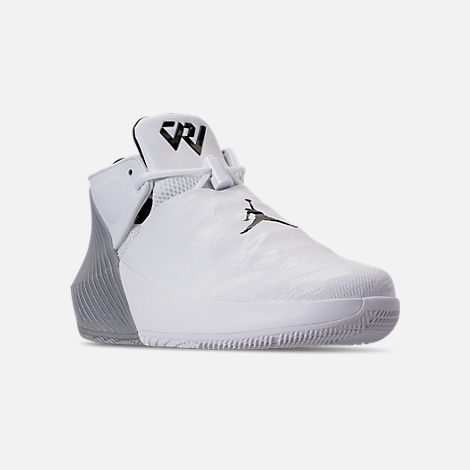 Three Quarter view of Men's Air Jordan Why Not Zer0.1 Low TB Basketball Shoes in White/Black/Metallic Silver