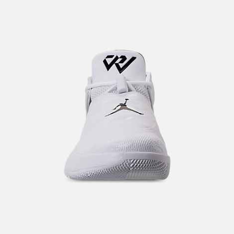 Front view of Men's Air Jordan Why Not Zer0.1 Low TB Basketball Shoes in White/Black/Metallic Silver