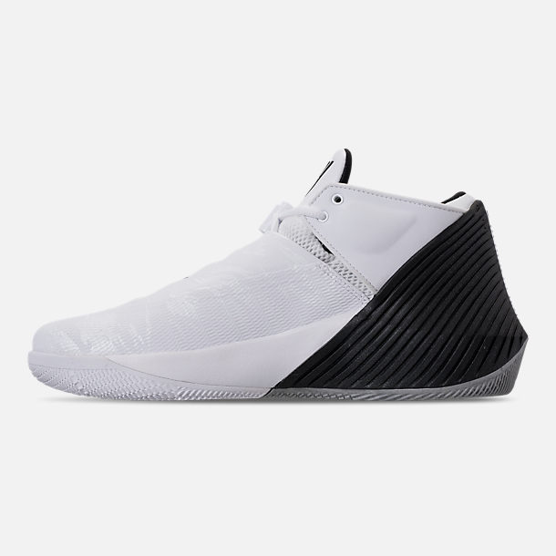 Left view of Men's Air Jordan Why Not Zer0.1 Low TB Basketball Shoes in White/Black/Metallic Silver