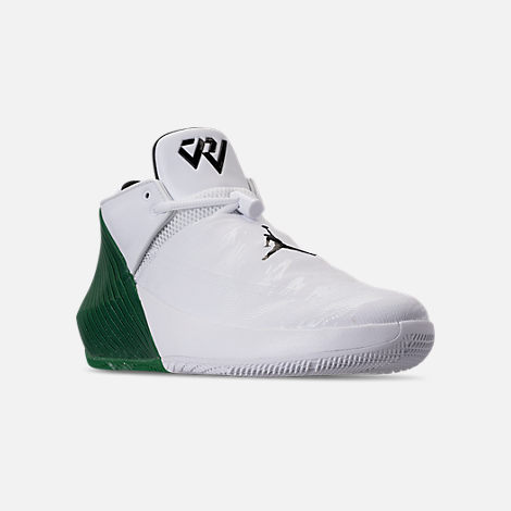 Three Quarter view of Men's Air Jordan Why Not Zer0.1 Low TB Basketball Shoes in White/Black/Pine Green