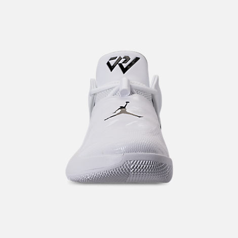 Front view of Men's Air Jordan Why Not Zer0.1 Low TB Basketball Shoes in White/Black/Pine Green