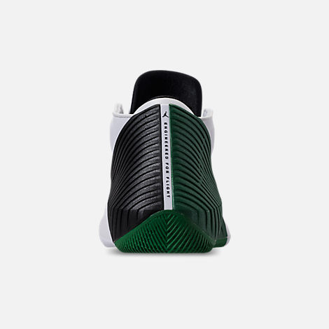 Back view of Men's Air Jordan Why Not Zer0.1 Low TB Basketball Shoes in White/Black/Pine Green