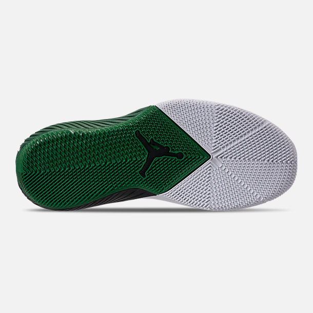 Bottom view of Men's Air Jordan Why Not Zer0.1 Low TB Basketball Shoes in White/Black/Pine Green