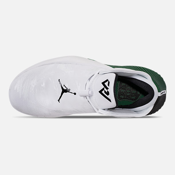 Top view of Men's Air Jordan Why Not Zer0.1 Low TB Basketball Shoes in White/Black/Pine Green