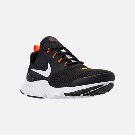 Three Quarter view of Men's Nike Presto Fly JDI Casual Shoes in Black/White/Total Orange