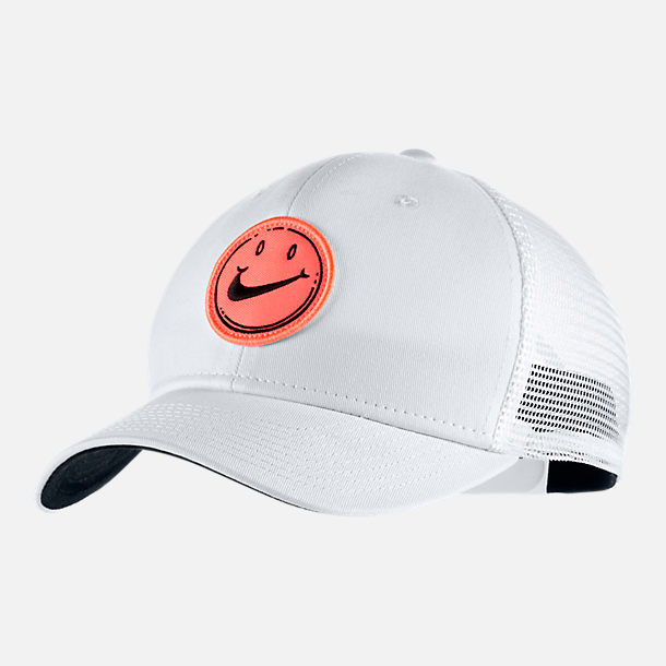 Front view of Unisex Nike Sportswear Classic 99 Have A Nice Day Snapback Hat in White/Black/Bright Mango