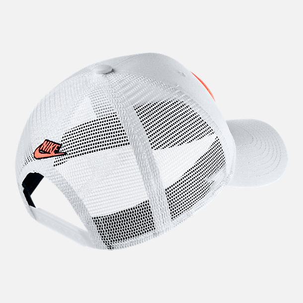 Back view of Unisex Nike Sportswear Classic 99 Have A Nice Day Snapback Hat in White/Black/Bright Mango