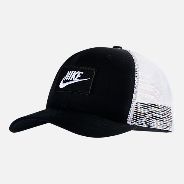 23d6f0399f1 Front view of Unisex Nike Sportswear Classic99 Trucker Snapback Hat in  Black White
