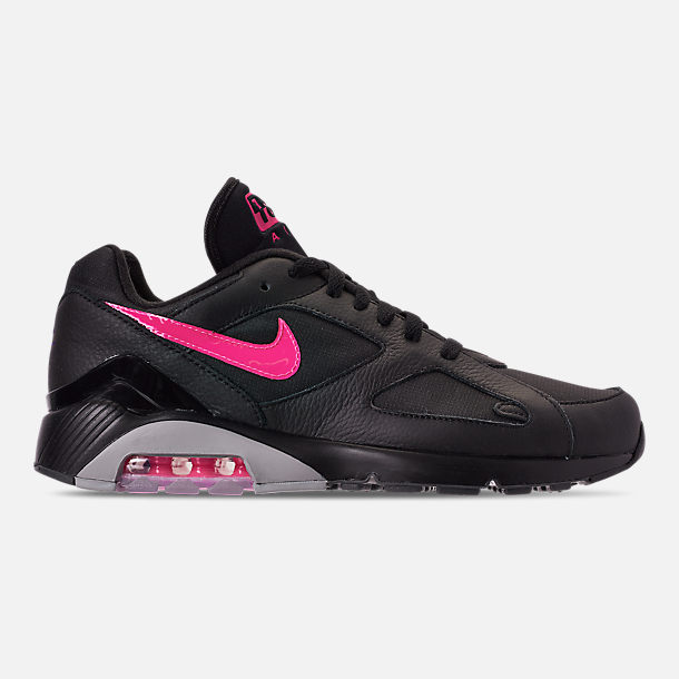 Right view of Men's Nike Air Max 180 Leather Casual Shoes in Black/Pink Blast/Grey