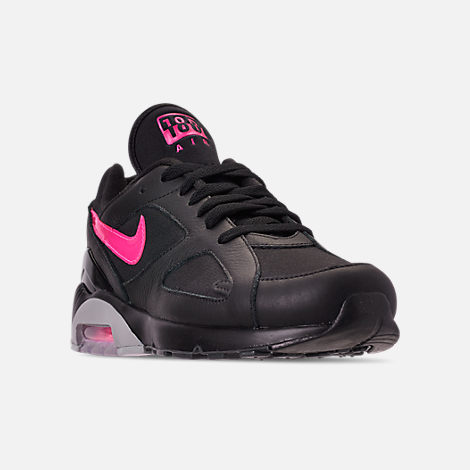 Three Quarter view of Men's Nike Air Max 180 Leather Casual Shoes in Black/Pink Blast/Grey