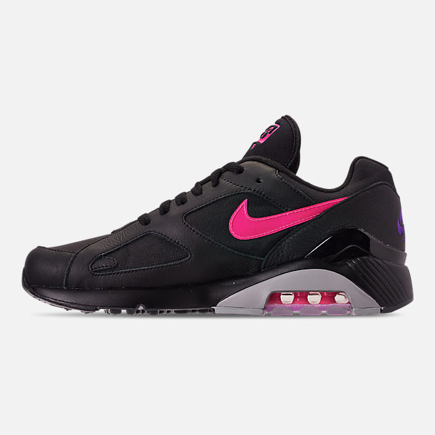 Left view of Men's Nike Air Max 180 Leather Casual Shoes in Black/Pink Blast/Grey