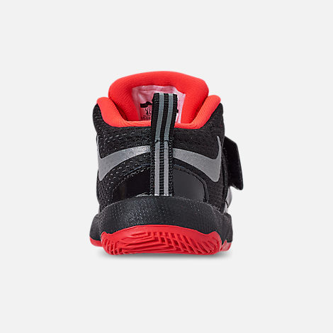 Back view of Boys' Toddler Nike Team Hustle D8 JDI Basketball Shoes in Black/Reflect Silver/Bright Crimson