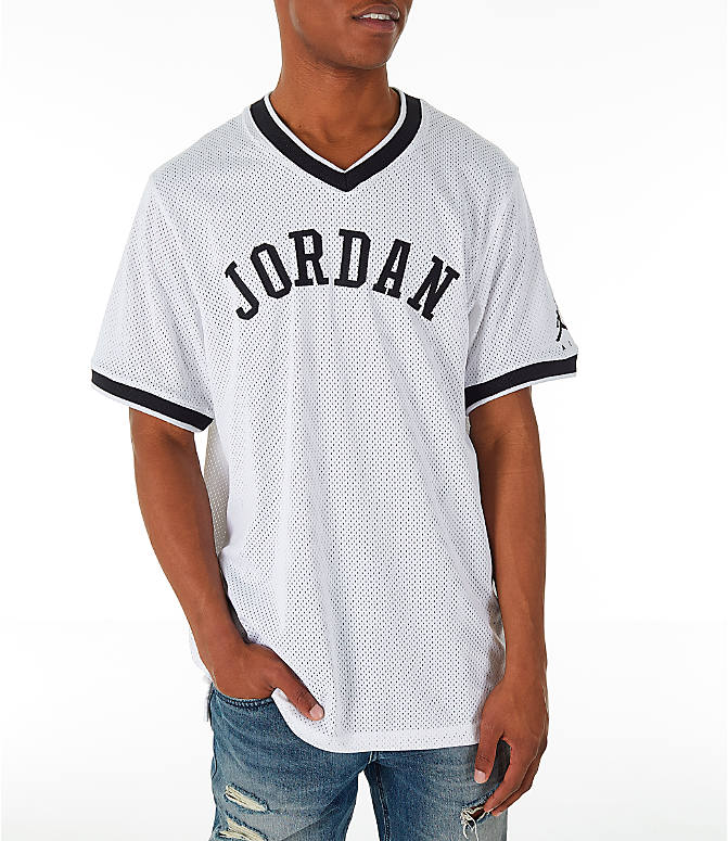 Front view of Men's Jordan Sportswear Jumpman Mesh T-Shirt in White/Black