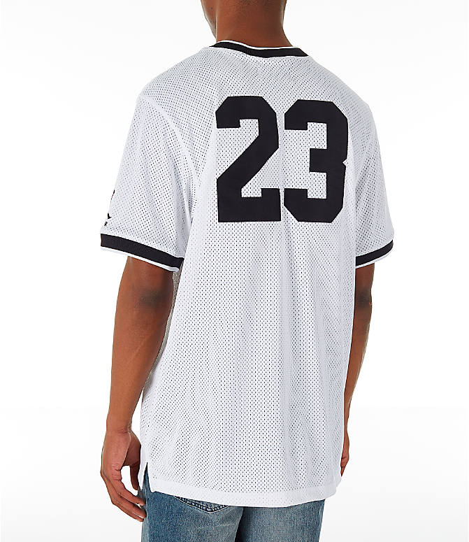 Back Left view of Men's Jordan Sportswear Jumpman Mesh T-Shirt in White/Black
