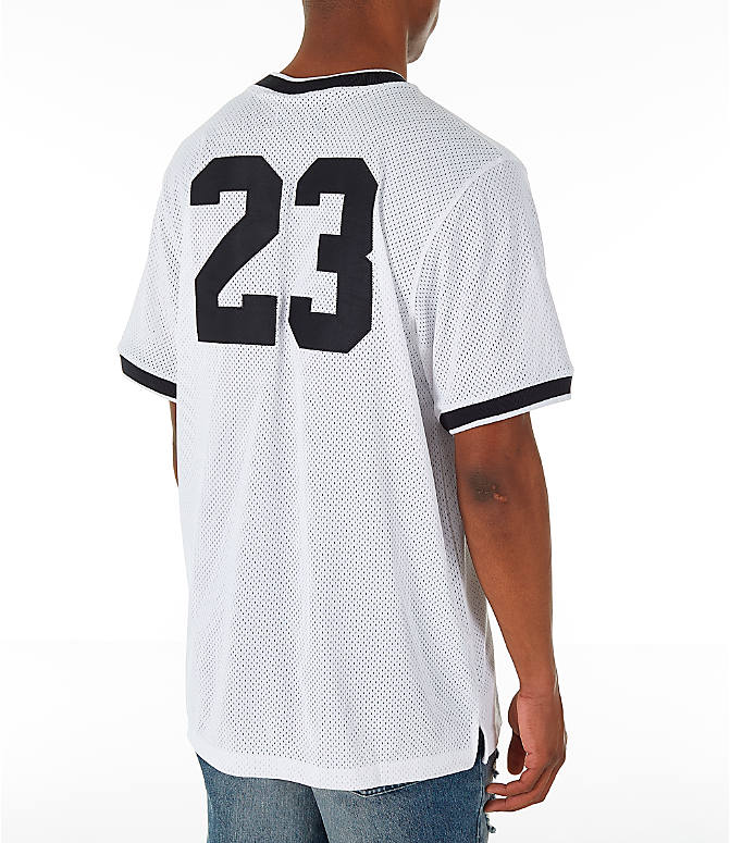 Back Right view of Men's Jordan Sportswear Jumpman Mesh T-Shirt in White/Black