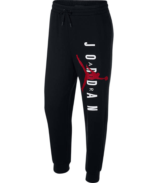 3a9706b5960d Front view of Men s Jordan Jumpman Lightweight Fleece Sweatpants in Black Gym  Red