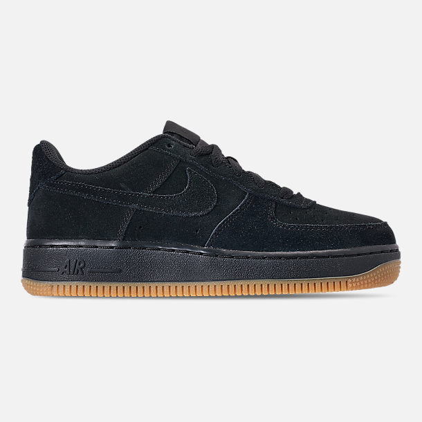 Right view of Boys' Grade School Nike Air Force 1 Premium Casual Shoes in Black/Black/Gum Light Brown