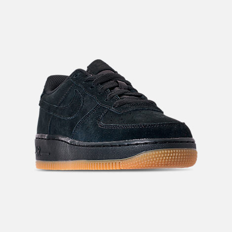 Three Quarter view of Boys' Grade School Nike Air Force 1 Premium Casual Shoes in Black/Black/Gum Light Brown