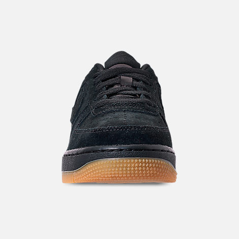 Front view of Boys' Grade School Nike Air Force 1 Premium Casual Shoes in Black/Black/Gum Light Brown