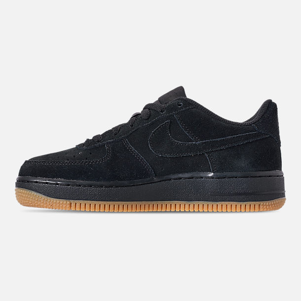 Left view of Boys' Grade School Nike Air Force 1 Premium Casual Shoes in Black/Black/Gum Light Brown