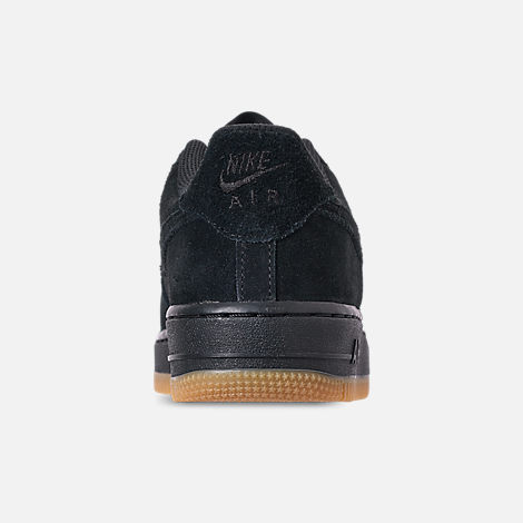 Back view of Boys' Grade School Nike Air Force 1 Premium Casual Shoes in Black/Black/Gum Light Brown