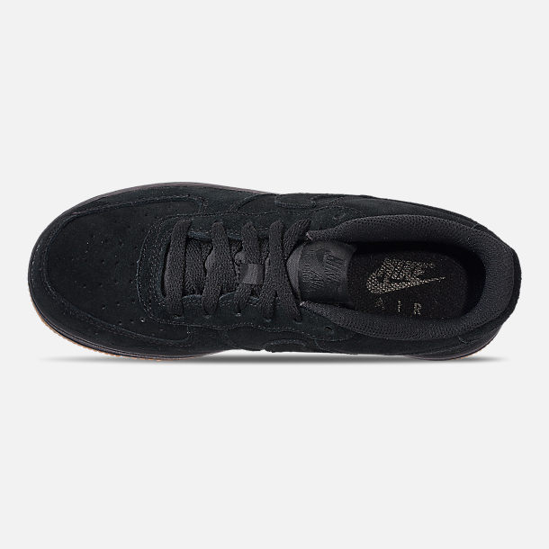 Top view of Boys' Grade School Nike Air Force 1 Premium Casual Shoes in Black/Black/Gum Light Brown