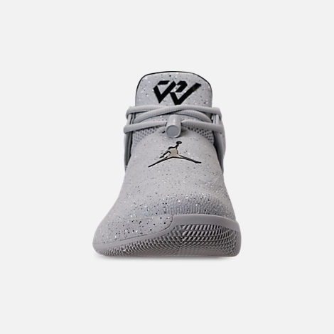 Front view of Men's Air Jordan Why Not Zer0.1 Low Basketball Shoes in Light Smoke Grey/Black/Iron Grey