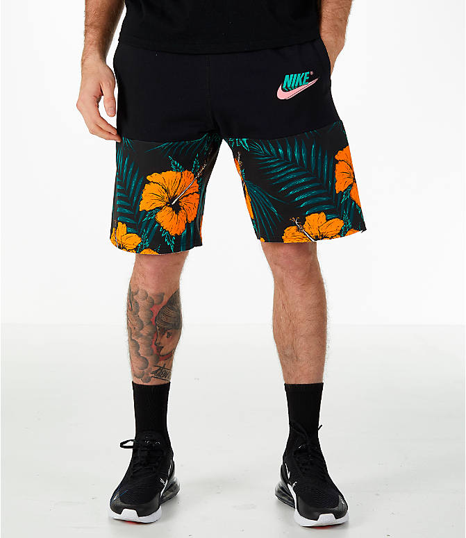 Front view of Men's Nike Sportswear Vice Futura Shorts in Black/Floral