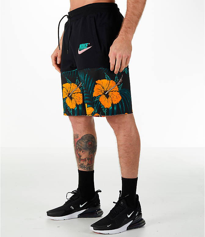 Front Three Quarter view of Men's Nike Sportswear Vice Futura Shorts in Black/Floral
