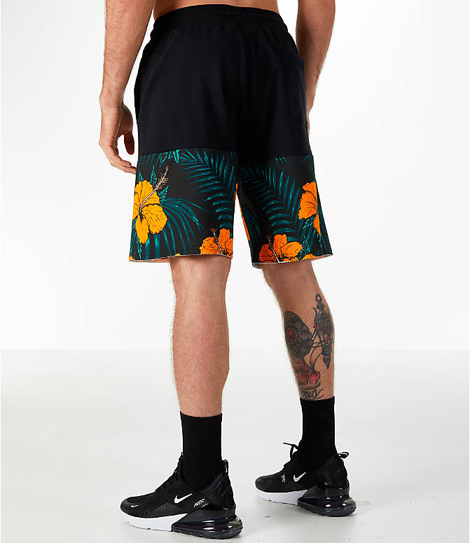 Back Left view of Men's Nike Sportswear Vice Futura Shorts in Black/Floral