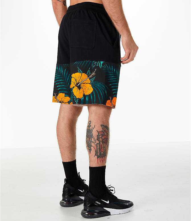 Back Right view of Men's Nike Sportswear Vice Futura Shorts in Black/Floral