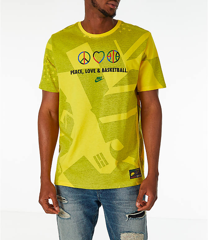 Front view of Men's Nike Sportswear NYC Wildcard T-Shirt in Tour Yellow/Black