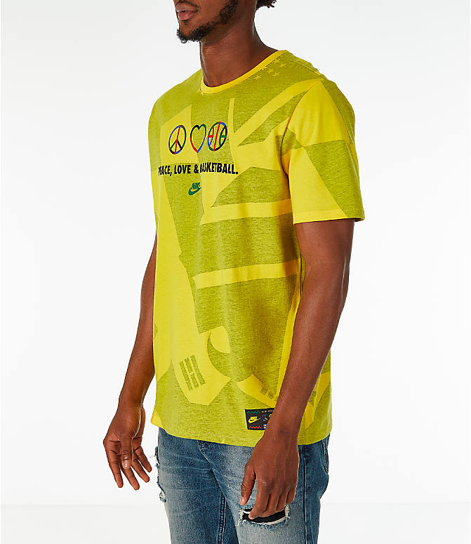 Front Three Quarter view of Men's Nike Sportswear NYC Wildcard T-Shirt in Tour Yellow/Black