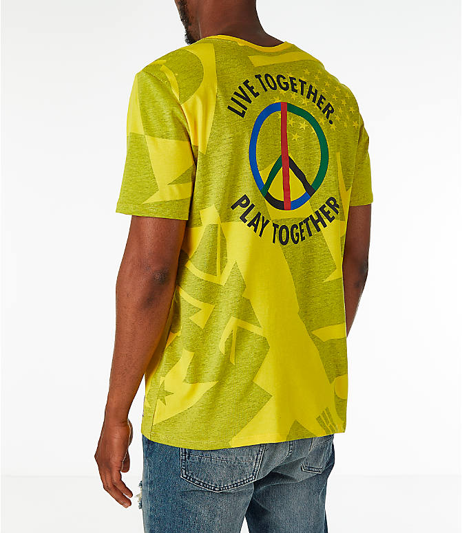 Back Left view of Men's Nike Sportswear NYC Wildcard T-Shirt in Tour Yellow/Black