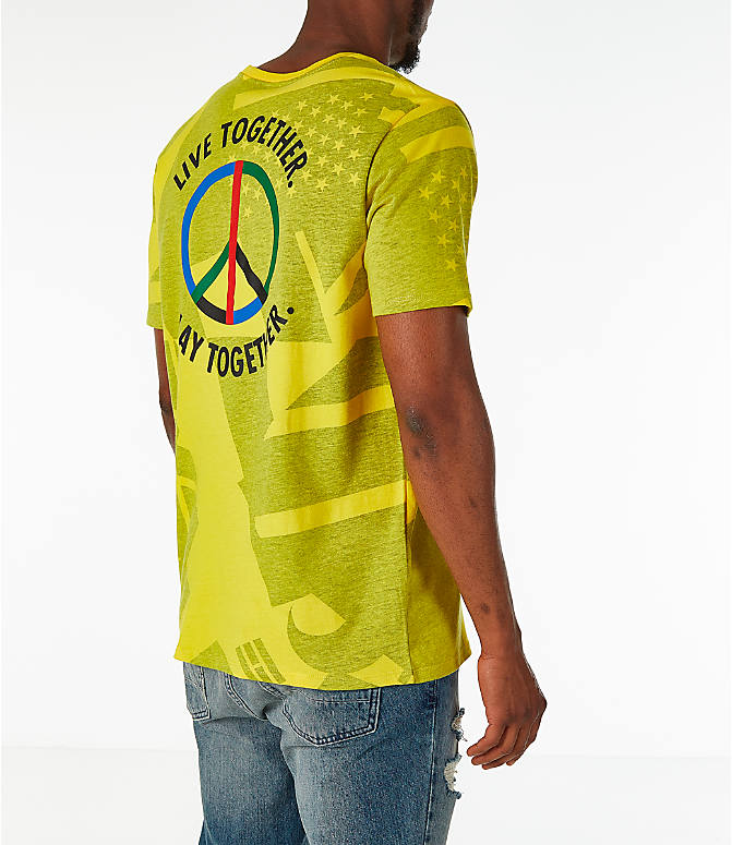 Back Right view of Men's Nike Sportswear NYC Wildcard T-Shirt in Tour Yellow/Black