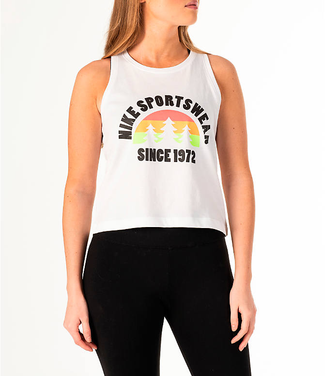 Front view of Women's Nike Sportswear Hi-Vis Crop Tank in White