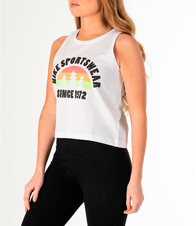Front Three Quarter view of Women's Nike Sportswear Hi-Vis Crop Tank in White