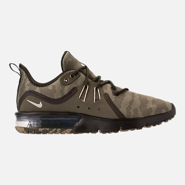 Right view of Men's Nike Air Max Sequent 3 Premium Camo Running Shoes in Medium Olive/Beach