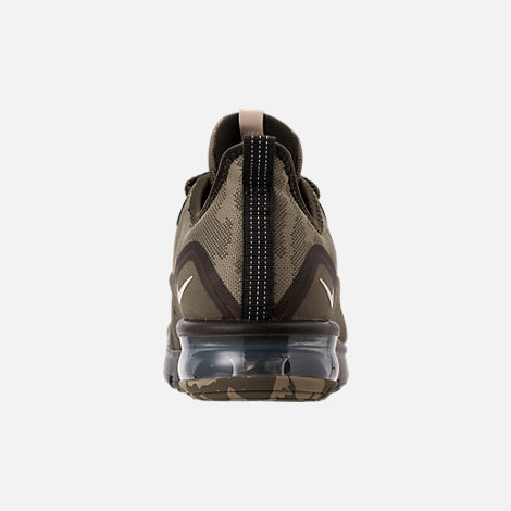 Back view of Men's Nike Air Max Sequent 3 Premium Camo Running Shoes in Medium Olive/Beach