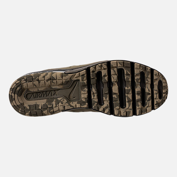 Bottom view of Men's Nike Air Max Sequent 3 Premium Camo Running Shoes in Medium Olive/Beach