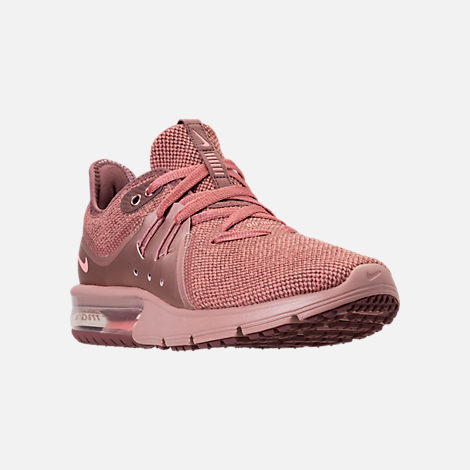 Three Quarter view of Women's Nike Air Max Sequent 3 Premium AS Running Shoes in Rust Pink/Pink Tint/Smokey Mauve