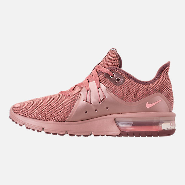 Left view of Women's Nike Air Max Sequent 3 Premium AS Running Shoes in Rust Pink/Pink Tint/Smokey Mauve