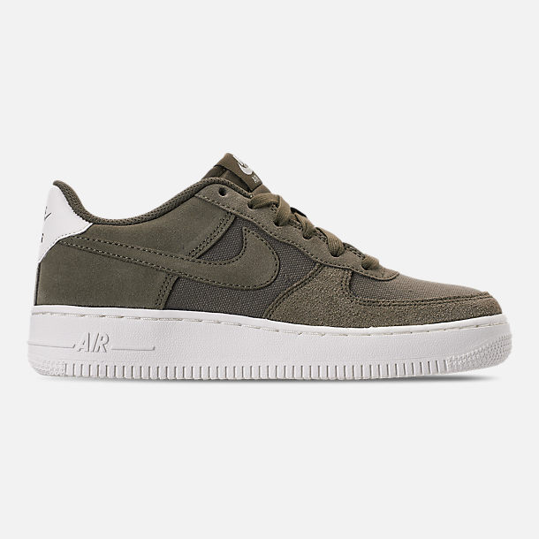 Right view of Boys' Big Kids' Nike Air Force 1 Suede Casual Shoes in Medium Olive/Medium Olive/Sail